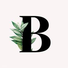 Illustration of the botanical capital letter B B Letter Logo, Letter Art, B Letter Images, Letter B Tattoo, B Letter Design, Tattoo Fonts Alphabet, Couples Tattoo Designs, Floral Letters, Couple Tattoos