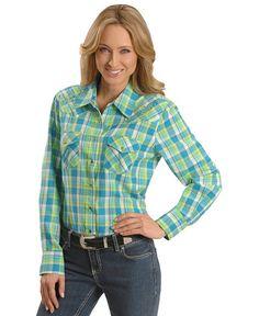 Teal & Green Plaid Embroidered Yoke Western Shirt
