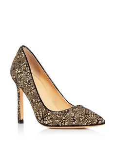 e407915152f1 Golden glitter lights up this lacy mesh pump by Ivanka Trump