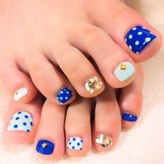 Blue & white polka dots with gold detail Toe nail art pedicure. For my lady chargers out there!