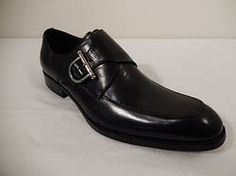 Encore Black Leather Strap Hand Stitch Dress Shoe