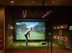 What's a man cave without its own golf simulator?