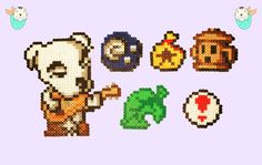 Animal Crossing Perler Magnets, Necklaces and Keychains! K.K. Slider - Fossil - Bells Bag - Gyroid - New Leaf - Pitfall Seed