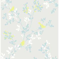 Brewster Chirp Gray Birds & Trees Wallpaper
