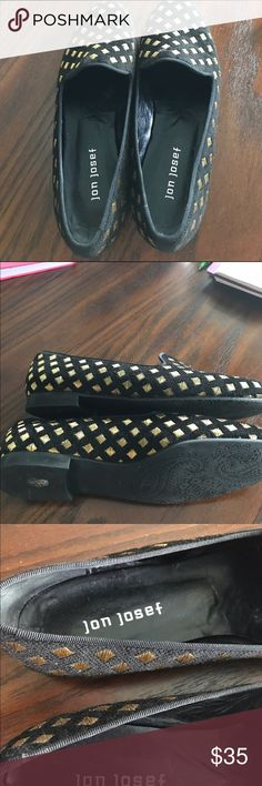 Jon Josef Flats Black with gold Flats EUC Beautiful Gold Diamond pattern! Impeccable Quality, Mint Condition Not sure I ever wore these jon josef Shoes Flats & Loafers