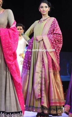 like this whole idea of draping a heavy banarsi dupatta with a simple gorgette suit...