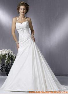Robe bretelle au cou en taffetas ornée de plis et de perles belle robe de mariage