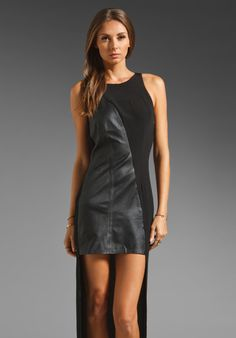 SHAKUHACHI Luxe Utility Asymmetric Leather Dress in Black/ Black at Revolve Clothing