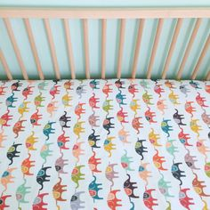 Crib Sheet Colorful Elephants. Fitted Crib Sheet. Baby by iviebaby