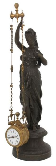 French Figural Mystery 2 Chain Swinger Clock : Lot 161