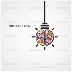 concepto de idea y bombilla de cerebro creativo — Vector stock ...