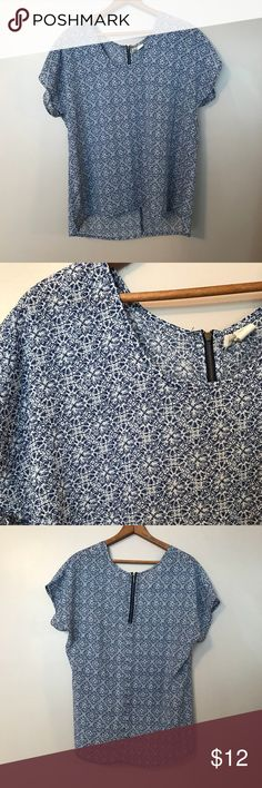 Blue printed blouse! Blue and white printed blouse!   Almost sheer, very light weight. Japna Tops Blouses