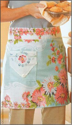 """Use pieces cut from a stained family tablecloth to create vintagey heirloom aprons for family members. Tablecloth Apron from """"Sew Simple"""" by Gooseberry Patch Vintage Tablecloths, Aprons Vintage, Vintage Sheets, Vintage Fabrics, Vintage Linen, Retro Fabric, Vintage Style, Gooseberry Patch, Fabric Crafts"""
