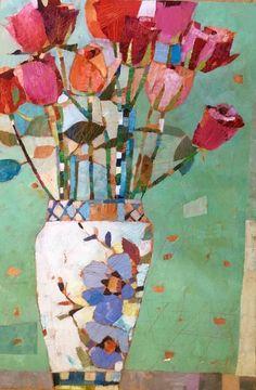 Abstract Flowers, Abstract Art, Still Life Art, Arte Floral, Oeuvre D'art, Painting Inspiration, Collage Art, Art Lessons, Flower Art