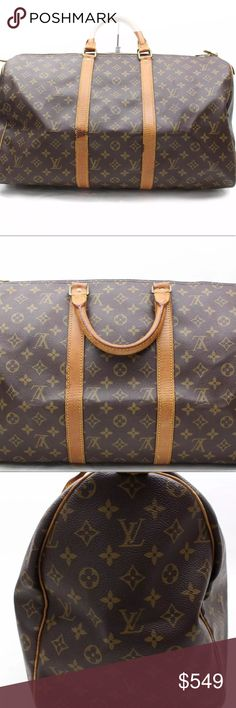 Authentic Louis Vuitton 50 Keepall Outside has minor rubbing on leather with some minor stains. Handles have some rubbing and discoloration. Rubbing on corners. Louis Vuitton Bags Travel Bags
