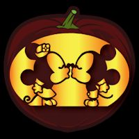 Mickey and Minnie Kiss CO - Stoneykins Pumpkin Carving Patterns and Stencils