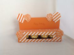 4 Ferrero Rocher's in a box, using Stampin'Up! Brights Colour Collection DSP, Pumpkin Pie Cardstock, Balloon Bouquet Punch.