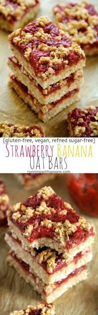 Strawberry Banana Oat Bars -- you'd never believe that these soft and chewy oat bars are vegan, gluten-free, refined sugar-free, and made without any butter or oil!    runningwithspoons.com
