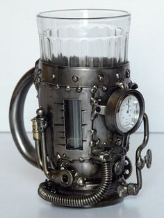 Steampunk - Steam boiler (tea glass holder with thermometer)