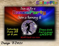 Disco Party Invitation Disco Birthday Invitation Dance by ColorPix