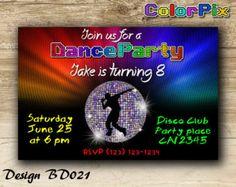 Disco Party Invitation Disco Birthday Invitation Dance by ColorPix
