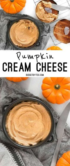 Pumpkin cream cheese Pumpkin cream cheese spread is the perfect autumn spread for bagels toast graham crackers or even dipping apples. Pumpkin Cream Cheese Dip, Pumpkin Dip, Cream Cheese Dips, Cream Cheese Spreads, Pumpkin Butter, Cream Cheese Recipes, Pumpkin Pie Recipes, Pumpkin Spice, Pumpkin Spread Recipe