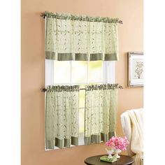 Green And White Checkered Kitchen Curtains