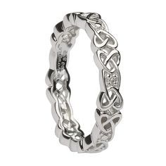 Women's Silver Celtic Knot Wedding Band with Diamonds - Unique Celtic Wedding Band Silver Necklaces, Silver Jewelry, Silver Rings, Gold Jewellery, Celtic Wedding Rings, Wedding Bands, Celtic Rings, Wedding Venues, Silver Diamonds