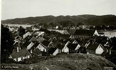 Vest-Agder fylke Mandal oversikt over byen og havnen Utg C. A. Erichsen 1930-tallet