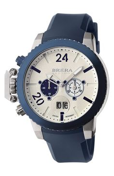 Free shipping and returns on Brera 'Militare II' Round Chronograph Watch, 48mm at Nordstrom.com. An intricate Swiss Rhonda quartz movement powers a casual chronograph watch boasting a stenciled dial, coin-edge bezel and molded rubber strap. The thick crown protector furthers the military-inspired silhouette.