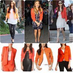 how to style a cropped blazer   Orange Jacket trend cropped blazer how to wear it celebrity Kim ...