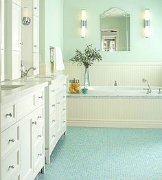 Pretty much the exact master bath I had in mind.double sinks and tub surround