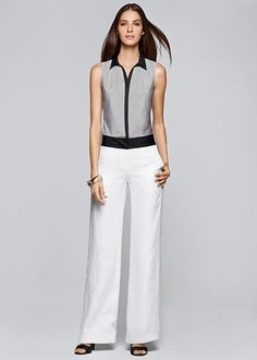 Lafayette148_Outfits_Tartine Check Shirting Kristan Blouse and Lavish Linen Wide Leg Pant with Grosgrain