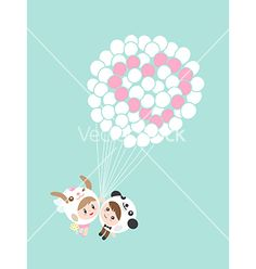 Cute lovely couple boy and girl with balloons cart vector by kraphix on VectorStock®