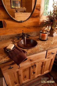 Log Home By Golden Eagle Log Homes - golden eagle log logs cabin home homes house houses rustic knotty pine custom design designs designer floor plan plans kit kits building luxury built builder complete package packages knotty hickory vanity with oval mirror above granite top bronze sink and faucet round peeled log walls