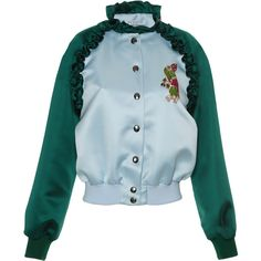 Vivetta     Santa Fe Ruffle Bomber Jacket (3.390 RON) ❤ liked on Polyvore featuring outerwear, jackets, blouson jacket, flight jacket, bomber style jacket, blue bomber jacket and bomber jacket