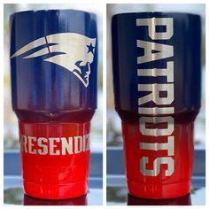New England Patriots Powdercoated Yeti Tumbler, Free Personilization! Patriots Football Team, New England Patriots Cheerleaders, New England Patriots Football, Patriots Fans, Diy Tumblers, Custom Tumblers, Go Pats, New Saints, Sticker