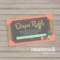 Mint and Coral Baby Shower Diaper Raffle Tickets by NuanceInk