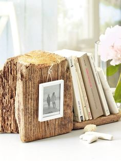 photo frame book ends. Rustic wood block.