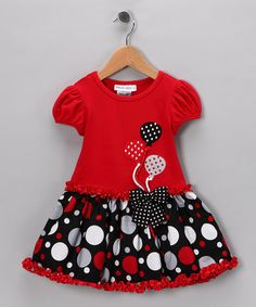 I love this for a birthday dress! Red & Black Balloon Dress - Toddler & Girls by Gerson & Gerson and Allison Ann on #zulily today!