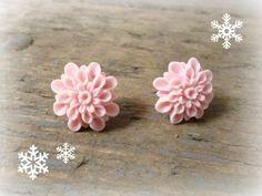 Pale pink dahlia flower stud earrings pink earrings by reccabella