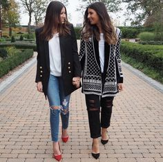 How People Are Styling Balmain x H&M IRL #refinery29  http://www.refinery29.com/2015/11/97113/how-to-wear-balmain-hm-collaboration#slide-11  It's a twin thing in ripped-knee jeans and pointed pumps....