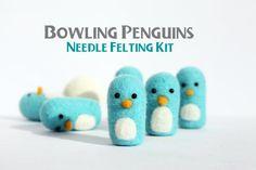 Igła filcowania Kit - DIY Filcowanie Kit - Bowling Penguin Kit-z palcem Protector-Needle Kit filcowania wełny - Penguin Handmade - Wysyłka ...
