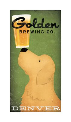 golden retriever brewing company craft beer graphic art by nativevermont