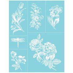 """Martha Stewart Crafts Glass Silkscreen 8-1/2""""X11""""-English Garden"""