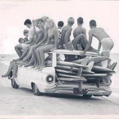 vintage | surf | fun | surfing | friends | road trip | black & white | photography | holidays | weekend | old picture | boards | old car | catch a ride | live | www.republicofyou.com.au