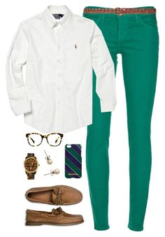 """""""polo + brooks brothers"""" by classically-preppy ❤ liked on Polyvore featuring Current/Elliott, Polo Ralph Lauren, Sperry Top-Sider, Zara, Michael Kors, Warby Parker, Brooks Brothers and J.Crew"""