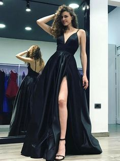 Spaghetti Straps Deep V Neck Black A Line Prom Dresses Stain Evening Dresses  Prom. Hoprom 606a35fd3