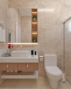 Casas Pequenas: +80 Fotos de Fora e de Dentro para Inspirar 2020 Simple Bathroom Designs, Bathroom Design Luxury, Bathroom Layout, Modern Bathroom Design, Home Interior Design, Interior Plants, French Interior, Scandinavian Interior, Interior Ideas