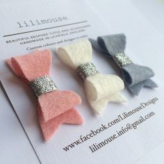 Pretty wool blend felt bows on bendy sleeper by LilimouseDesigns